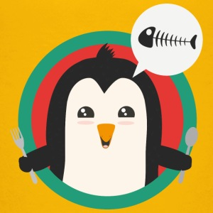 Penguin with cutlery and fish Shirts - Teenage Premium T-Shirt