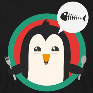 Penguin with cutlery and fish T-Shirts - Men's T-Shirt