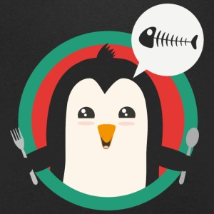Penguin with cutlery and fish T-Shirts - Men's V-Neck T-Shirt