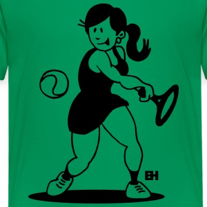 Tennis girl hitting a backhand Shirts - Teenage Premium T-Shirt