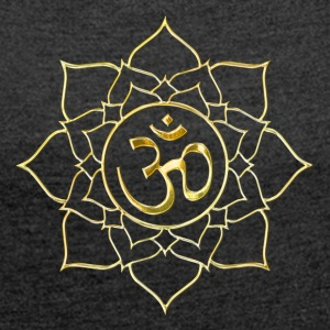 Lotus Aum in Gold T-Shirts - Frauen T-Shirt mit gerollten Ärmeln