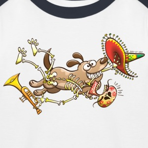 Mischievous Dog Stealing Mexican Skeleton Shirts - Kids' Baseball T-Shirt