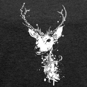 A white deer head T-Shirts - Women's T-shirt with rolled up sleeves