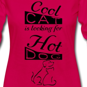 Cool Cat and Hot Dog  Long Sleeve Shirts - Women's Premium Longsleeve Shirt