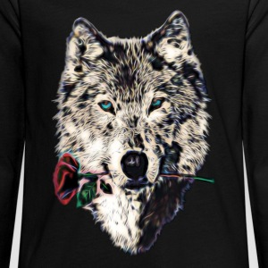 Wolf, wolves, animal, wild, blue eyes, rose Manches longues - T-shirt manches longues Premium Ado