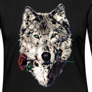 Wolf, wolves, animal, wild, blue eyes, rose Langar - Frauen Premium Langarmshirt