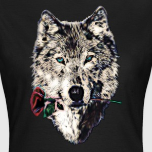 Wolf, wolves, animal, wild, blue eyes, rose Tee shirts - T-shirt Femme
