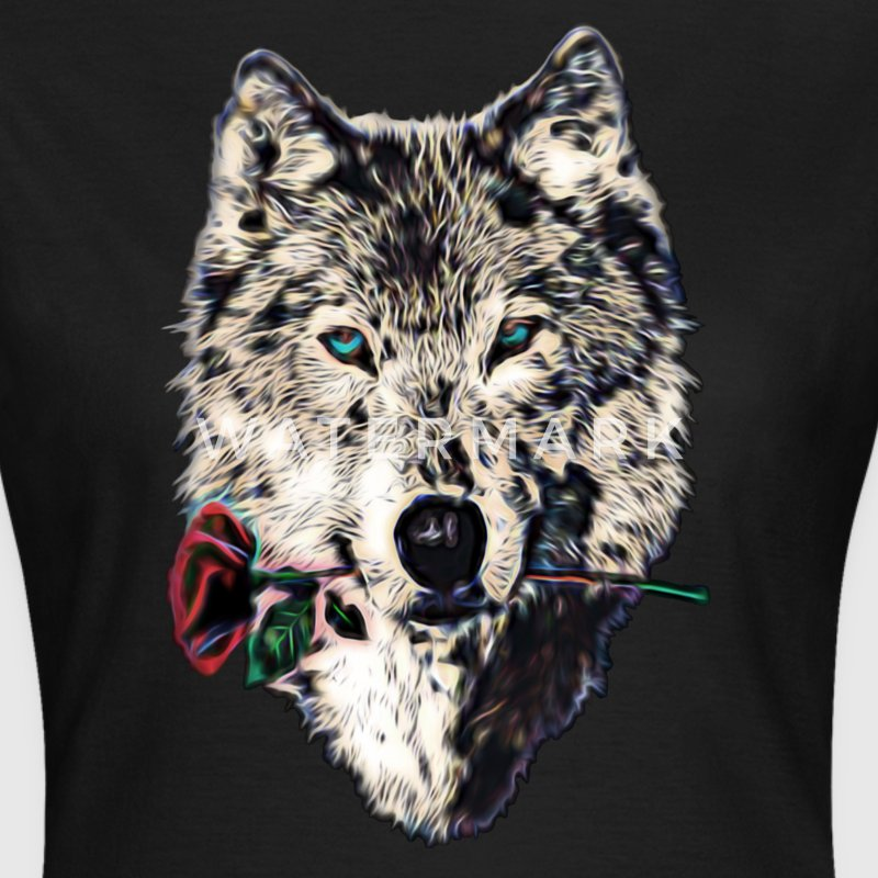 Wolf, wolves, animal, wild, blue eyes, rose T-Shirts - Women's T-Shirt