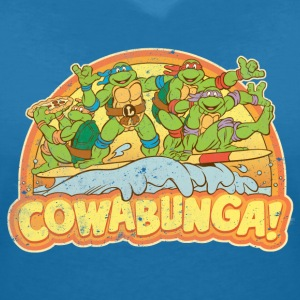 TMNT Teenage Mutant Surfing Turtles - Vrouwen T-shirt met V-hals