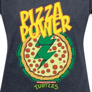 TMNT Turtles Pizza Power Shield - Women's T-shirt with rolled up sleeves