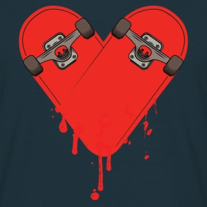 Broken Bleeding Skateboard Heart T-Shirts - Men's T-Shirt