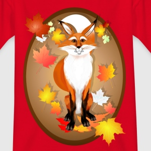 Happy Fox in Fall oval - Kinder T-Shirt