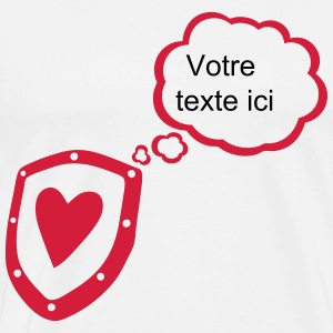 Shield heart bubble thought blank add text T-Shirts - Men's Premium T-Shirt