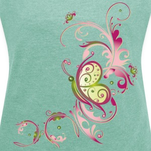 Florale Ranke mit Blumen und Schmetterling T-Shirts - Women's T-shirt with rolled up sleeves