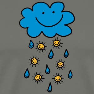 Rain cloud, raindrop, sun, summer, spring, weather - Men's Premium T-Shirt