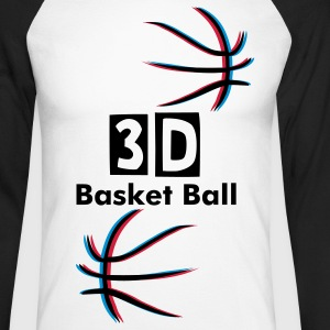 3D BASKET 3D BASKETBALL - Men's Long Sleeve Baseball T-Shirt