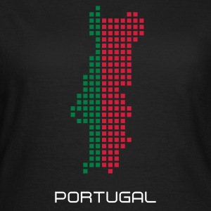 Svart Portugal flag map T-shirts - T-shirt dam