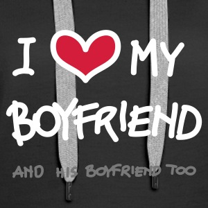 Nero i love my boylfriend, and his boyfriend too (a mano) Pullover - Felpa con cappuccio premium da donna