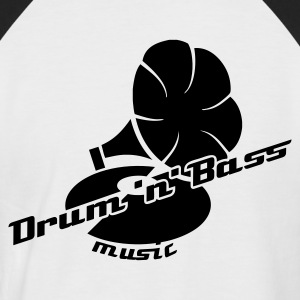 Blanc/noir Drum and Bass Gramophon T-shirts - T-shirt baseball manches courtes Homme