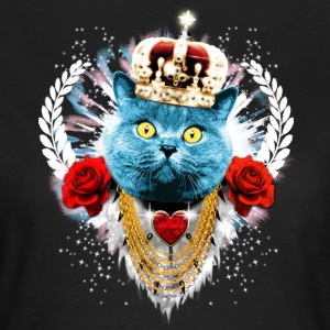 Schwarz Blue Cat The King - Katze Krone Rosen Lorb - Frauen T-Shirt