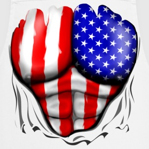 America Flag Ripped Muscles, six pack, chest apron - Cooking Apron