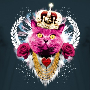 Pink Cat - the King - Crown Krone - Kater Katze Männer Shirt - Männer T-Shirt