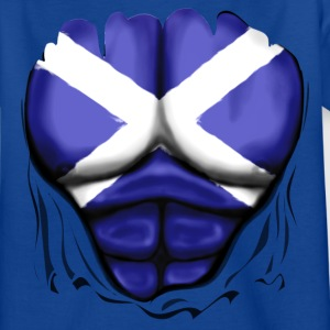 Scotland Flag Ripped Muscles, six pack, chest t-sh - Teenage T-shirt