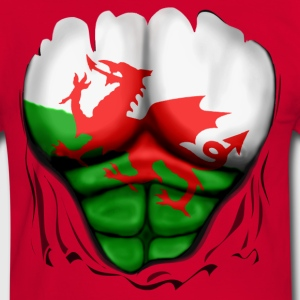Wales Flag Ripped Muscles, six pack, chest t-shirt - Men's Ringer Shirt