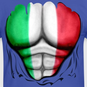 Italy Flag Ripped Muscles six pack chest t-shirt - Men's Ringer Shirt