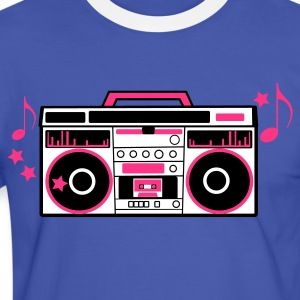 Blue/white 80s cassette player dj boom box with funky musical notes Men's T-Shirts - Men's Ringer Shirt