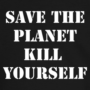 Zwart/wit save the planet kill yourself T-shirts - Mannen contrastshirt