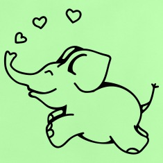 Mint green Elephant in Love Baby Shirts