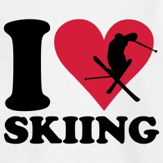White I love Skiing - Ski Kids' Shirts
