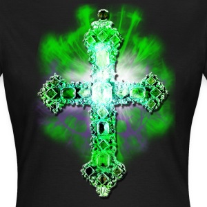 Kreuz Gold gruen Edelsteine / Cross Jesus Christus green Frauen T-Shirt - Frauen T-Shirt
