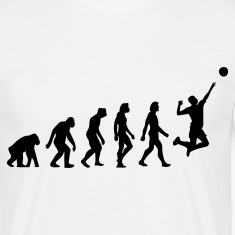 Valkoinen Evolution of Volleyball (1c) T-paidat