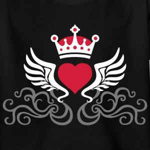 tribal_heart_wings_crown_3c Shirts - Teenager T-shirt