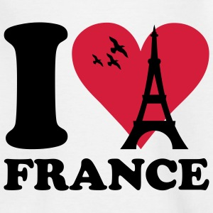 Weiß I love France - Frankreich Kinder T-Shirts - Teenager T-Shirt
