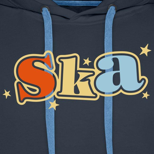 Ska-Kapuzenpullover mit Sternen 3 farbiger Druck