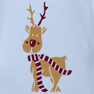 A reindeer in winter with scarf Baby Bodysuits - Organic Short-sleeved Baby Bodysuit