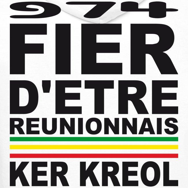 Sweatshirt à capuche Homme Fier d'être Réunionnais - 974 Ker Kreol