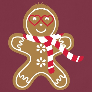 Gingerbread man with heart glasses and scarf  Aprons - Cooking Apron