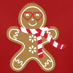 Gingerbread man with heart glasses and scarf T-Shirts - Women's Organic T-shirt
