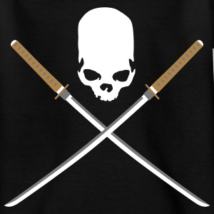 samurai_schwert_skull_3c_black T-shirts - Teenager-T-shirt