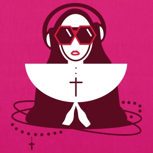 The nun  with sunglasses and headphones Bags  - EarthPositive Tote Bag