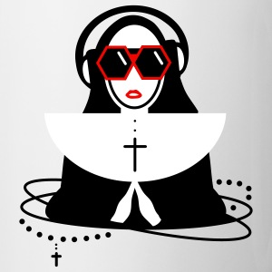 The nun  with sunglasses and headphones Mugs  - Mug
