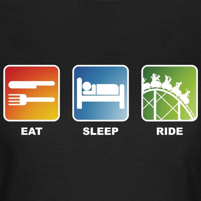 Eat, Sleep, Ride! Shirt Damen Schwarz