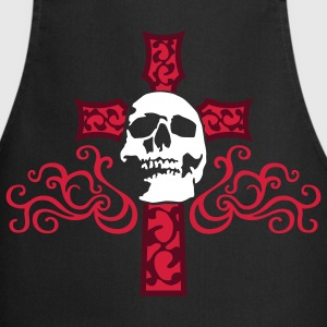 tribal_skull_cross_c_3c_black Delantales - Delantal de cocina