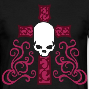 tribal_skull_cross_d_3c_black Camisetas - Camiseta hombre