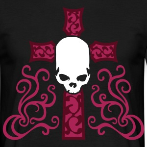 tribal_skull_cross_d_3c_black T-skjorter - T-skjorte for menn