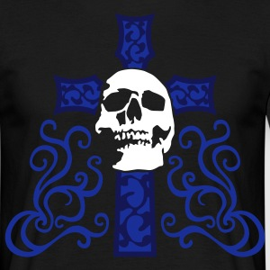 tribal_skull_cross_e_3c_black T-shirts - Mannen T-shirt